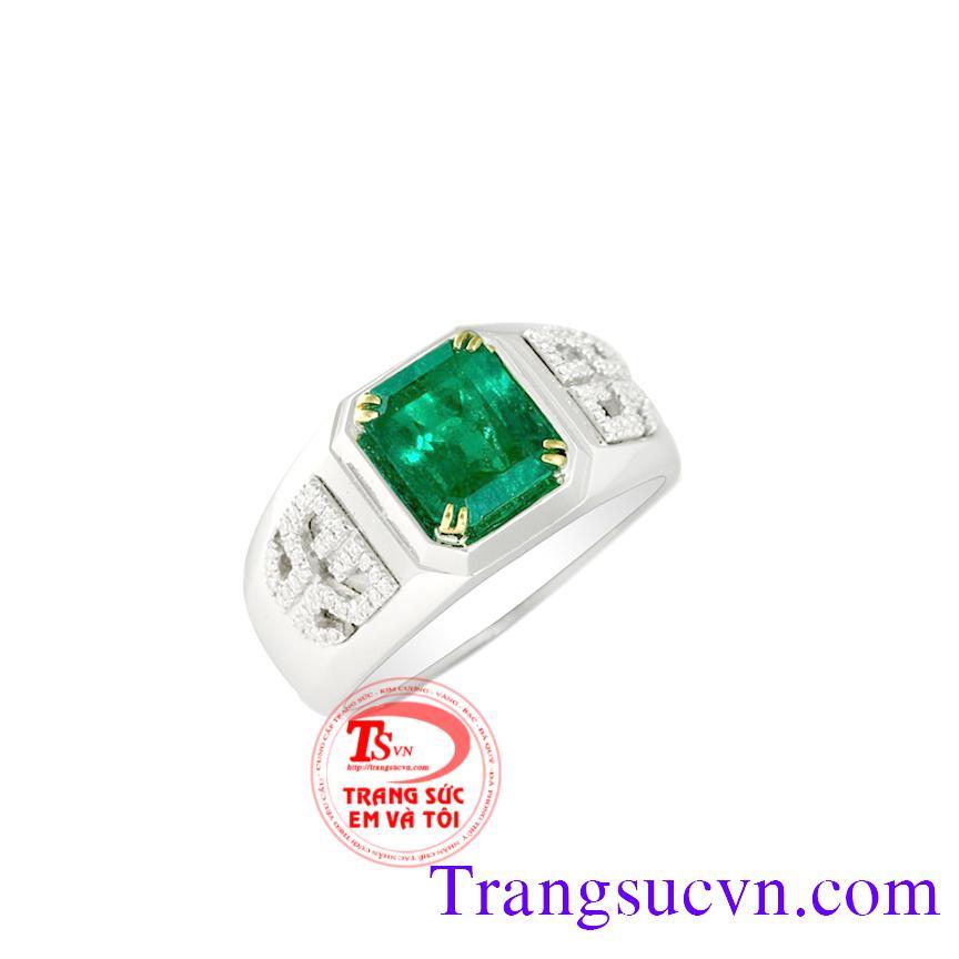 Nhẫn nam vàng trắng gắn đá quý