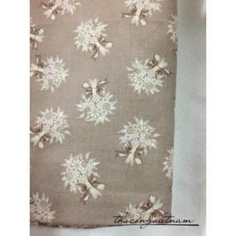 Vải thô bó hoa nền kem nâu