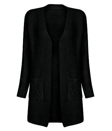 Áo khoác len túi gợn sóng - Đen