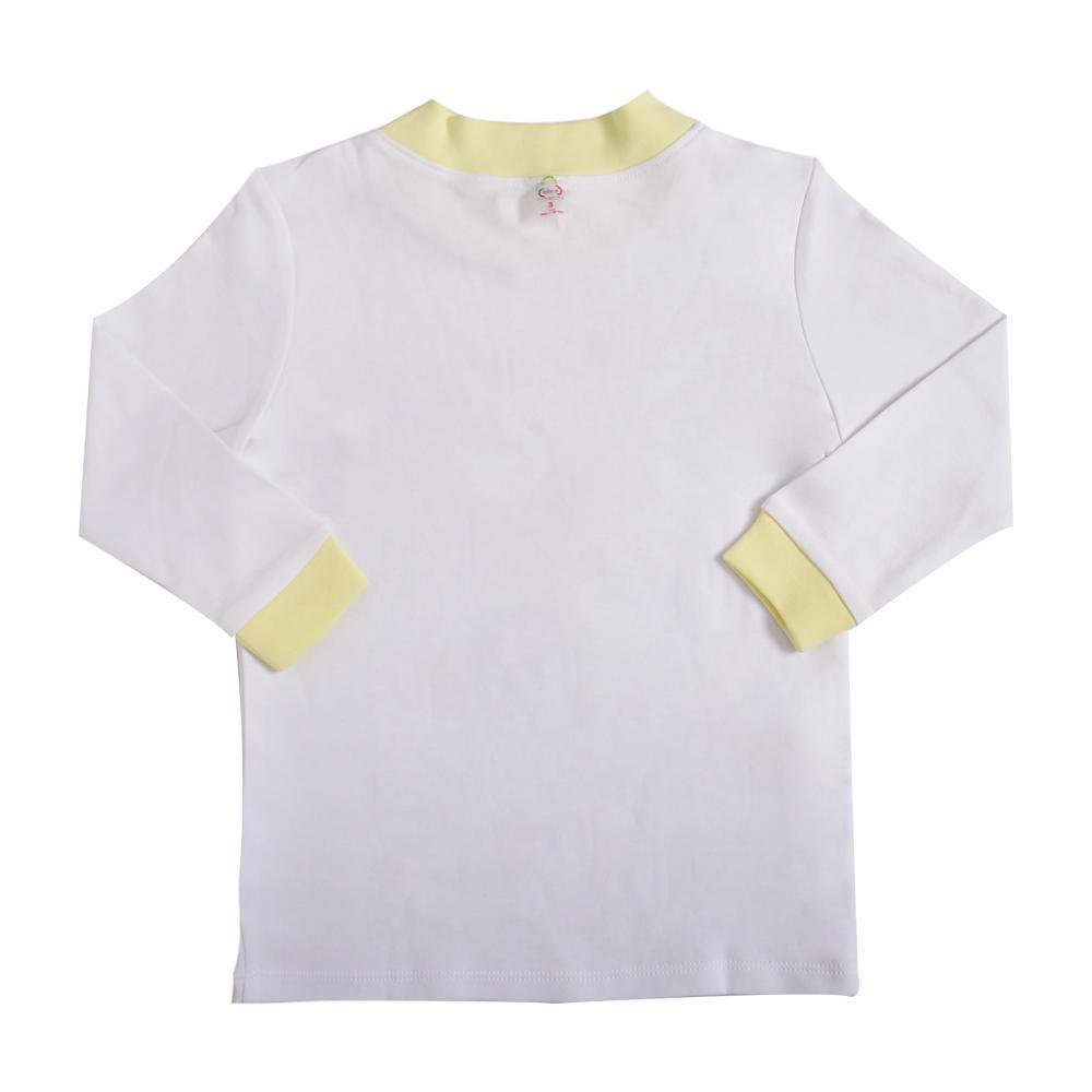 Áo Bibos cổ lọ dài trắng bo vàng 3Y