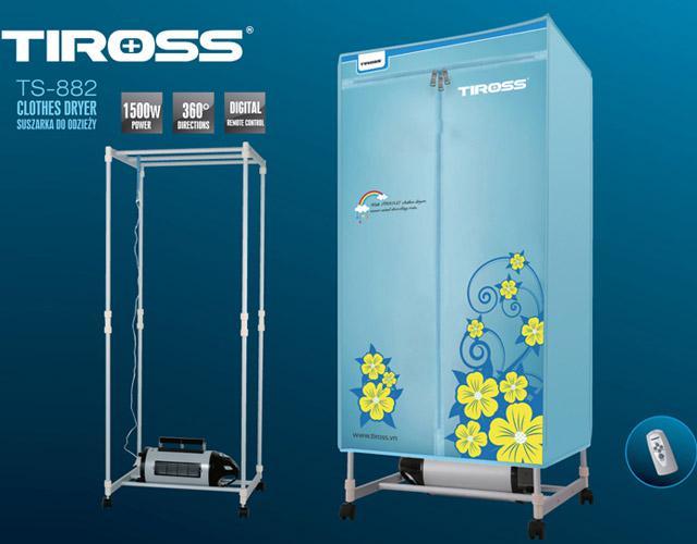 Máy sấy quần áo Tiross, tủ hình chữ nhật, có điều khiển từ xa