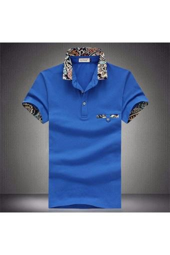 Male Polo Shirt Five Color Seven Size Mens casual sweater combed cotton short sleeved T-shirt (Royal...