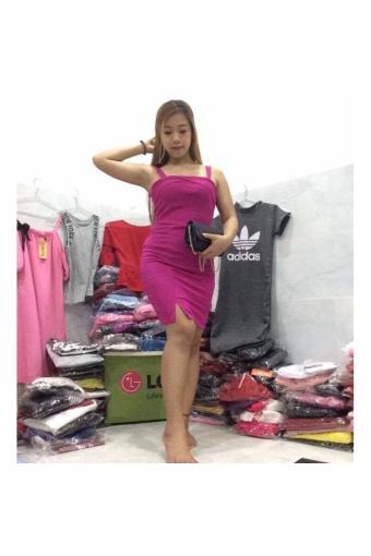 Đầm body không tay ( hồng )