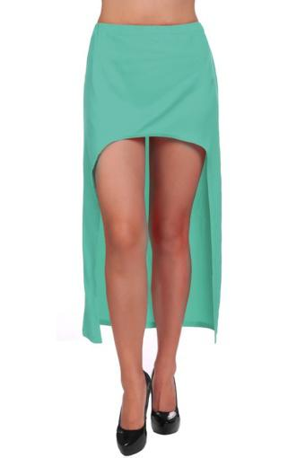 Cyber Lady Women's Asymmetric Dovetail Hem Chiffon Midi Skirt(Green) - Intl