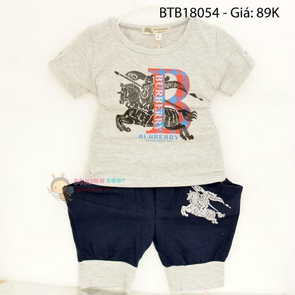 Bộ burberry xám quần alibaba dễ thương cho bé trai 1 - 7 Tuổi BTB18054