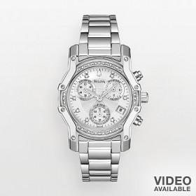 Bulova® Stainless Steel Diamond Accent Chronograph Watch