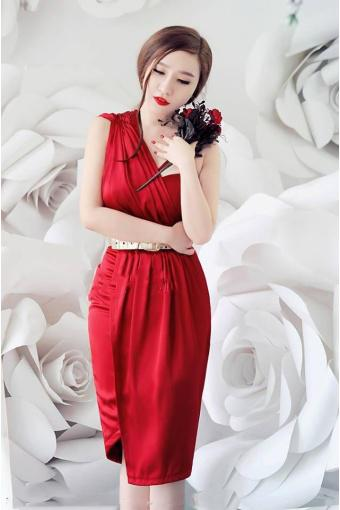 Đầm dự tiệc phi lụa màu đỏ không kèm belt | Đầm dự tiệc