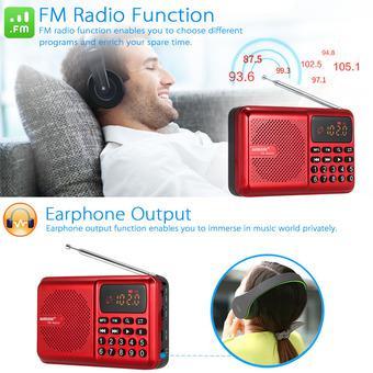 Máy nghe nhạc đa năng USB, thẻ nhớ, đài FM Bannixing D-69E