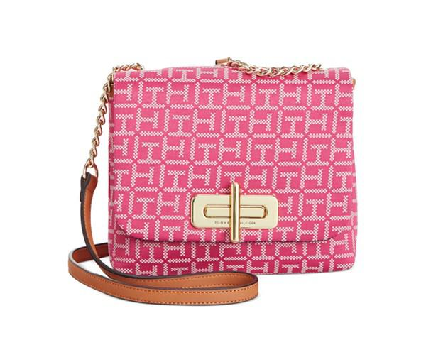 Tommy Hilfiger Abby Monogram Jacquard Small Flap Crossbody (Raspberry/White)