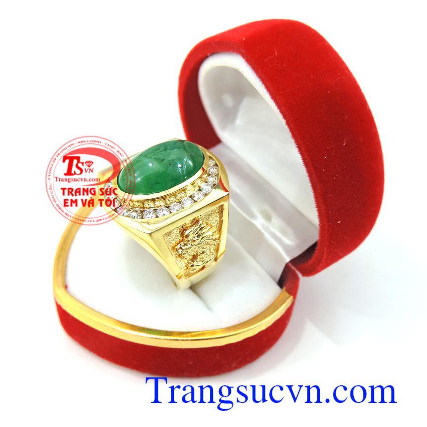 Nhẫn nam emerald và kim cương