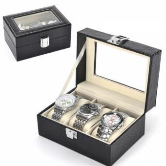 Hộp đựng đồng hồ đeo tay bọc da cao cấp - 3 ngăn ( Đen )(Đen)
