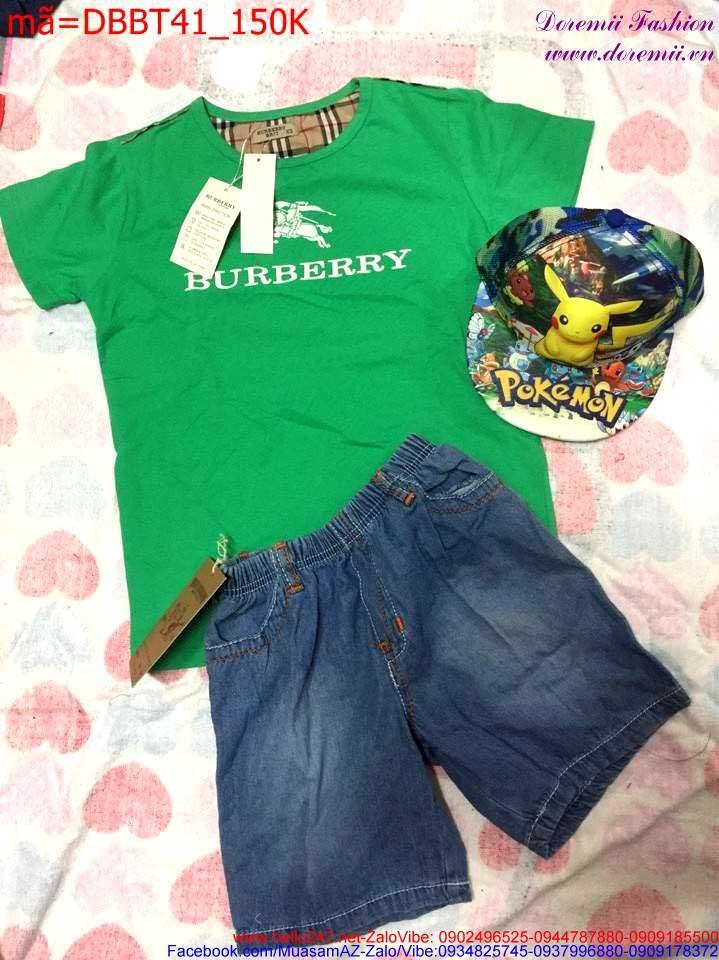 Bộ áo thun Burberry phối quần jean lửng thời trang sành điệu DBBT41