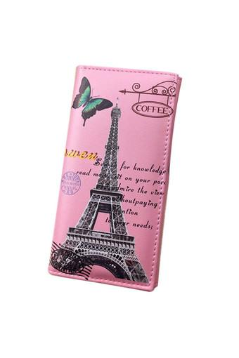 Women Long Wallet Smooth PU leather Paris Flags Eiffel Tower Style Wallets (Intl)