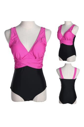 WomenOne Piece onokmini swimsuit Padded swiwear Beachwear (Roe Red)