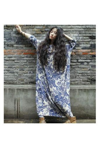 Cyber Women Batwing Sleeve O-Neck Loose Casual Print Long Dress With Belt - Intl