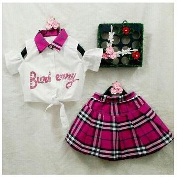 Bộ váy burberry sành điệu cho bé