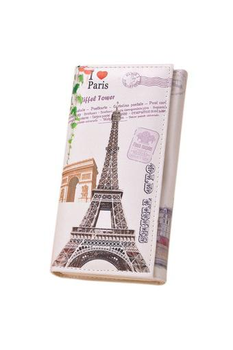 Fashion Women Long Wallet PU leather Paris Flags Eiffel Tower Style Wallet - Intl