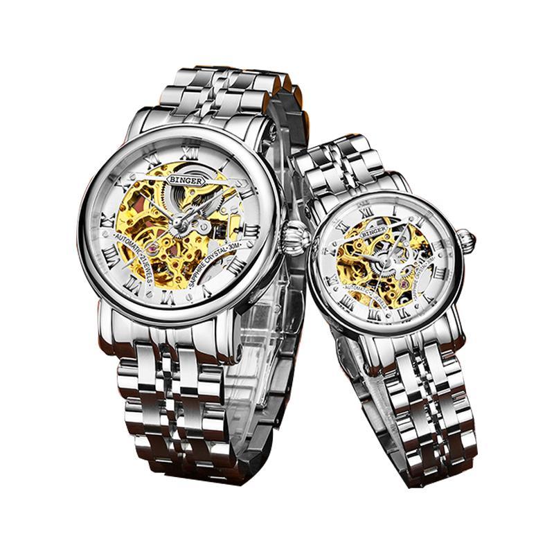 Đồng hồ đôi chạm rỗng Binger số La Mã