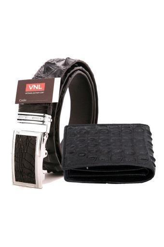 Bộ thắt lưng và ví nam da cá sấu chính hãng Da Giày Việt Nam VNL81LZ8216 (Đen và Nâu Đen)