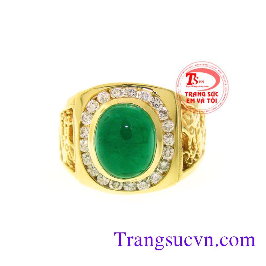 Nhẫn nam đẹp Emerald và Kim cương