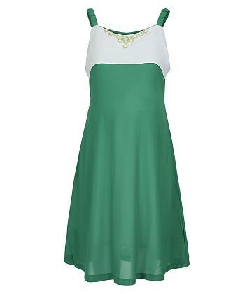 Đầm bầu 2 dây phối phụ kiện thời trang - Xanh