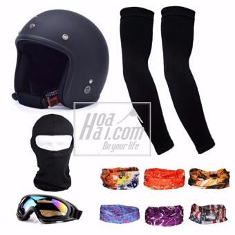 Bộ 1 nón bảo hiểm 3/4 đầu (đen) + 1 mũ ninja + 1 đôi bao tay chống nắng + 1 kính phượt + Tặng 2 khăn...