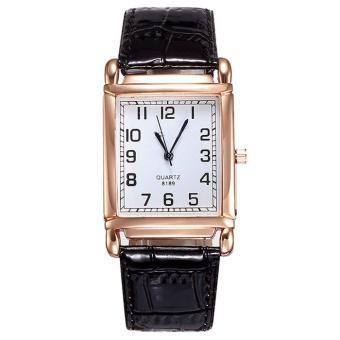 2015 Vintage Crocodile Leather Unisex Stainless Steel Quartz Sport Wrist Watch Black