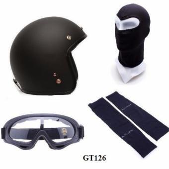 Bộ mũ bảo hiểm + khăn trùm + kính + găng tay đi phượt (Đen)