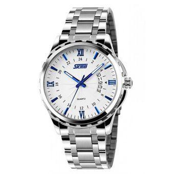 Đồng hồ nam dây hợp kim chống gỉ Skmei 9069 (Trắng xanh)