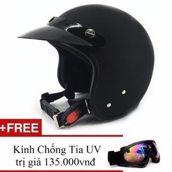 Nón bảo hiểm 3/4 đầu dành cho phượt thủ + Tặng 1 kính uv ( đen )