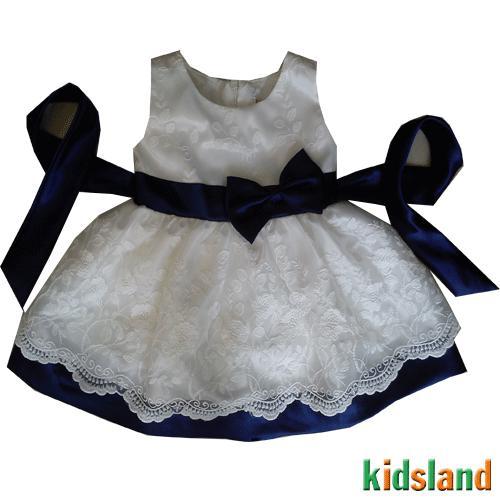 Đầm voan trắng nơ xanh AD130