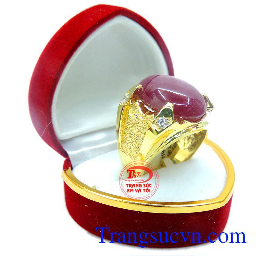 Nhẫn nam đá quý ruby sao thiên nhiên