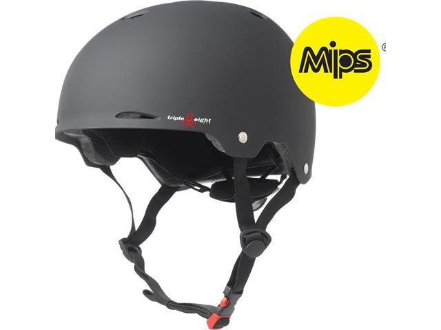 Triple Eight Gotham Dual Certified Bicycle/Skate Helmet with MIPS (Black Rubber - L/XL)
