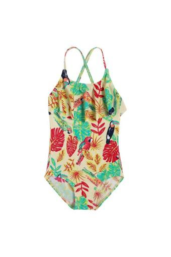 Cyber Arshiner Kids Girl Stripe Floral One Piece Swimsuit Swimwear - Intl