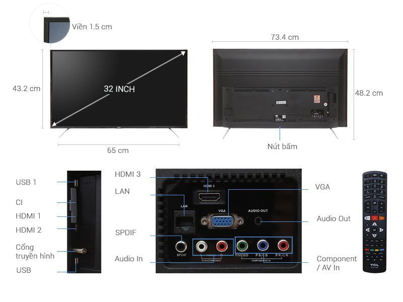 Smart Tivi TCL 32 inch HD 2016