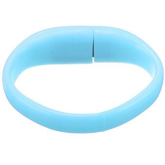 Fashion 32GB USB 2.0 Bracelet Wristband Flash Drive Flash Memory Thumb Pen U Disk Light Blue - Intl