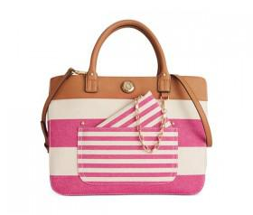 Tommy Hilfiger Lexi Woven Rugby Convertible Shopper (Raspberry/Natural)