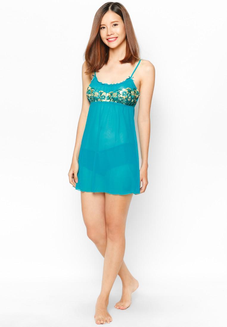 Đầm Ngủ Lưới Phối Ren