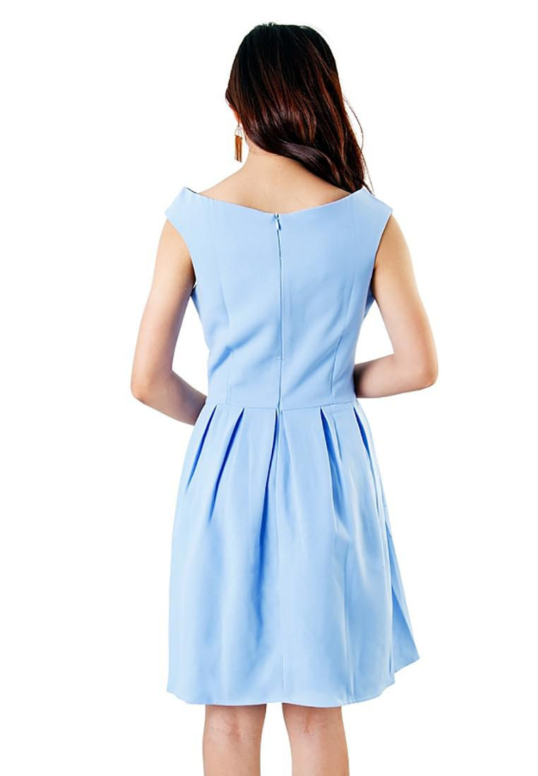 Đầm Cổ Thuyền Phối Ren Hoa