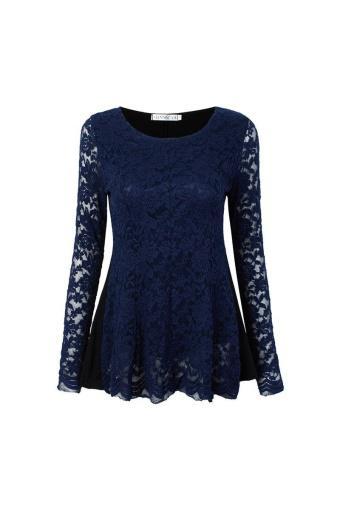 S-3XL Women Elegant Lace Blouses Autumn Long Sleeve O-Neck Shirts Patchwork Slim Blusas Tops Plus Si...