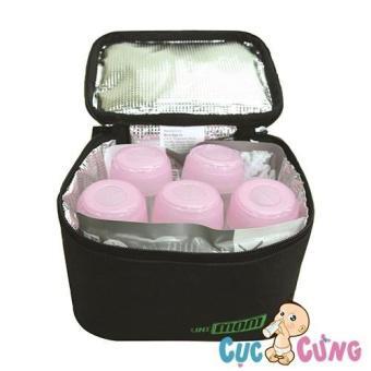 Túi giữ lạnh sữa Unimom gồm 5 bình PP và 2 miếng đá khô diệt khuẩn UM870016