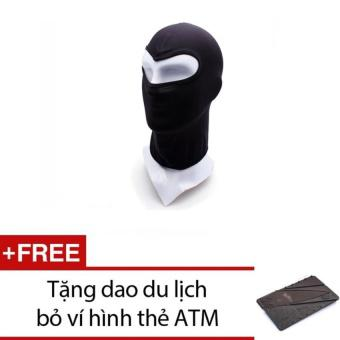 Khăn trùm mặt nạ đi phượt NINJA (Đen) + Tặng 1 dao du lịch bỏ ví hình thẻ ATM (Xám)