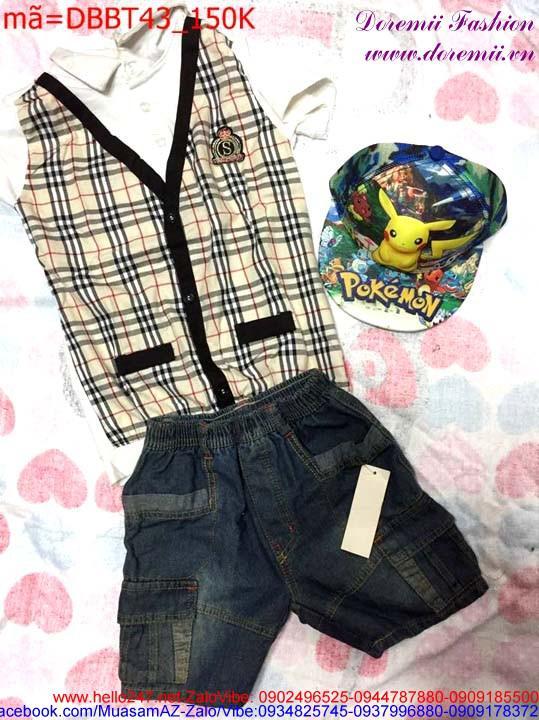 Bộ áo Burberry kết hợp quần short jean thời trang lịch lãm DBBT43
