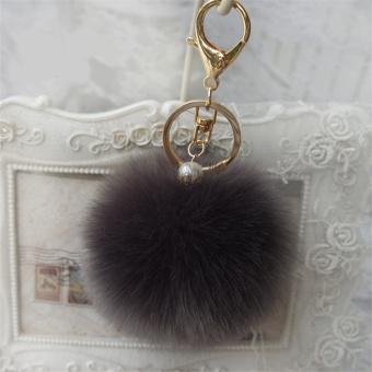 Rabbit Fur Key Ring Cell Phone Ball PomPom Handbag Pendant Charm Car Keychain - Intl