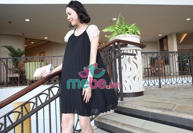 Váy bầu xếp ly tay ren XD0718
