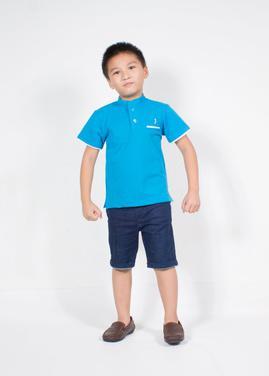 Áo thun bé trai xanh blue cổ trụ cho bé từ 1 - 12 tuổi JADINY