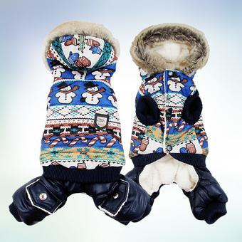 Dog Winter Warm Coat Snowman Jacket pet puppy Jumpsuit hoody clothes (Intl)