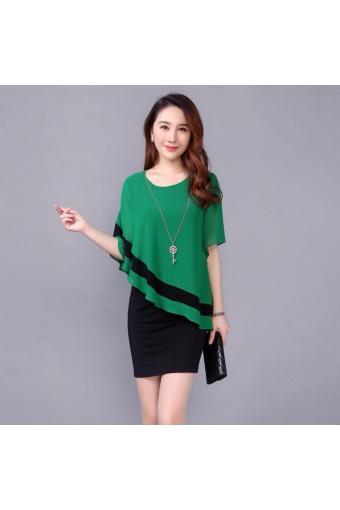 Đầm ôm body, áo ngoài cánh dơi Misa Fashion MS214 (xanh lá)