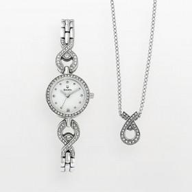 Bulova Stainless Steel Crystal & Mother of Pearl Watch & Pendant Set