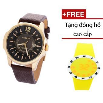 Đồng hồ CURREN vòng thước dây da CR004 (Nâu đen) + Đồng hồ cao cấp